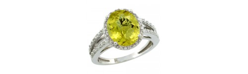 Lemon Quartz & Diamonds Silver Rings
