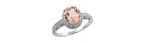 Morganite & Diamonds Silver Rings