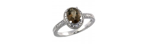 Smoky Topaz & Diamonds Silver Rings