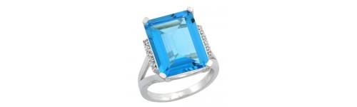 Swiss Blue Topaz & Diamonds Silver Rings