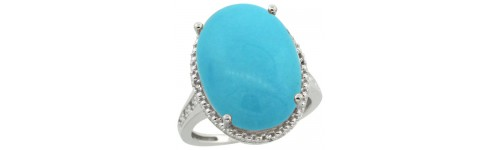 Turquoise & Diamonds Silver Rings