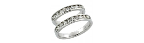 14k White Gold His & Hers Bands