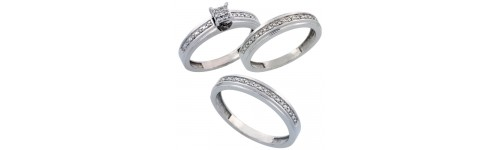 14k White Gold Trio Rings