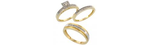 14k Yellow Gold Trio Rings