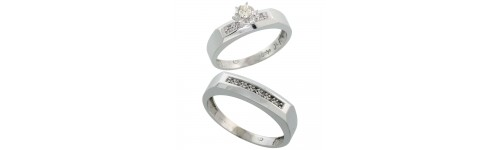 10k White Gold His & Hers Rings