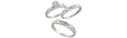 10k White Gold Trio Rings