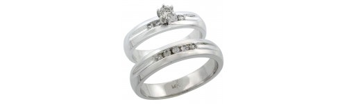 14k White Gold Wedding & Engagement Sets