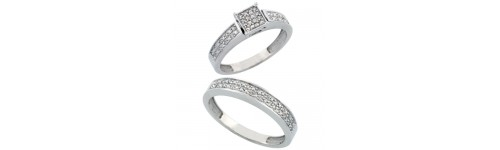 14k White Gold His & Hers Rings