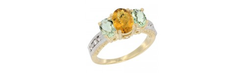14k Yellow Gold 3-Stone Rings