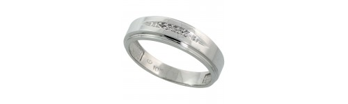 Men's Sterling Silver Diamond Bands
