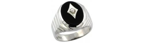 Men's Black Onyx & Diamonds Silver Rings