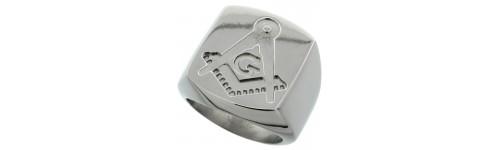 Stainless Steel Masonic Compass Design Rings