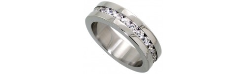 Stainless Steel Wedding Bands with CZ Stones
