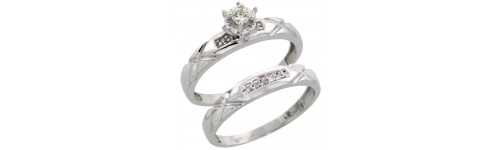 Sterling Silver 2-Piece Ladies' Diamond Ring Sets