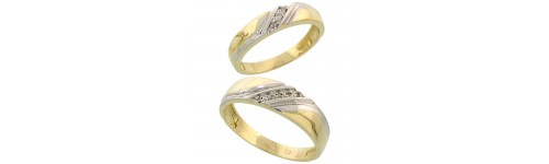 Sterling Silver His & Hers Diamond Bands