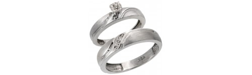 Sterling Silver His & Hers Diamond Ring Sets