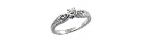 Sterling Silver Ladies' Diamond Rings