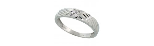 Sterling Silver Men's Diamond Bands