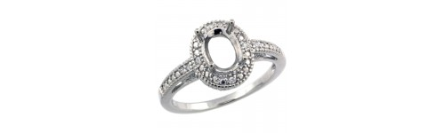 Sterling Silver Semi Mount Diamond Rings