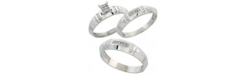 Sterling Silver Trio Diamond Ring Sets