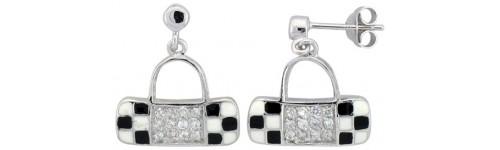 Sterling Silver Enamel Finish Earrings