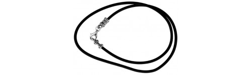 Sterling Silver Rubber Cord Necklaces
