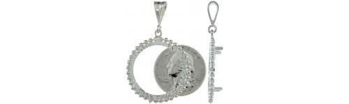 Sterling Silver Coin Bezel Frame Pendants