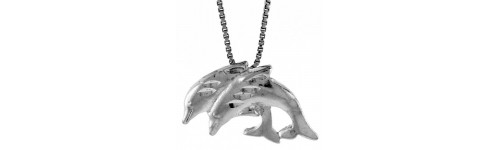 Sterling Silver Dolphins & Fish Pendants