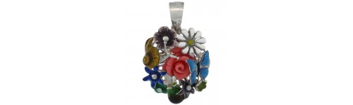 Sterling Silver Enamel Finish Pendants
