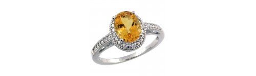 Citrine & Diamonds Silver Rings