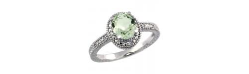 Green Amethyst & Diamonds Silver Rings