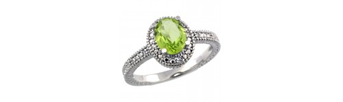 Peridot & Diamonds Silver Rings