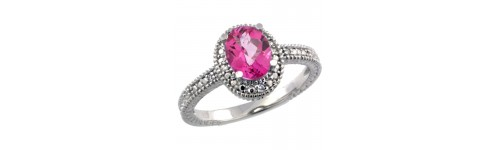 Pink Topaz & Diamonds Silver Rings